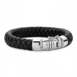 Armband Ben in zwart leer - mt F