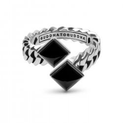 BtB zilveren ring Chain Onyx Pyramid - maat 17