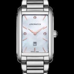 Aerowatch Lady Quartz Intuition stalen dameshorloge MOP saffier, 5bar, bi-color rose