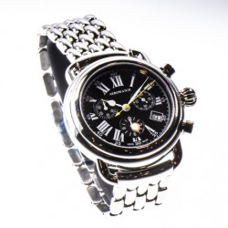 Aerowatch Chronograph Quartz met zwarte wijzerplaat, saffier glas, 5bar, Swiss made