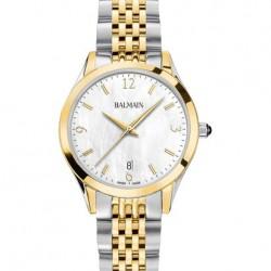 Balmain bicolor horloge met parelmoer wijzerplaat en datumaanduiding