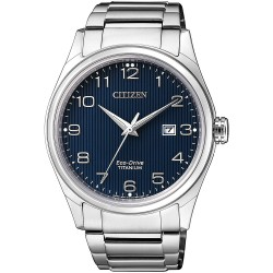 Citizen Eco Drive Titanium Herenhorloge met blauwe wijzerplaat
